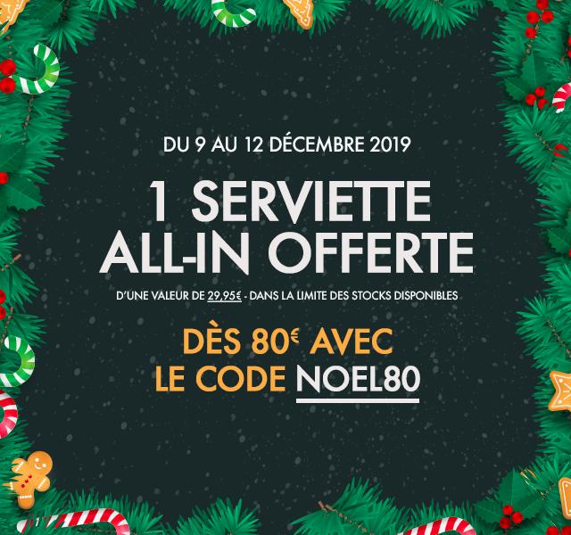 1 serviette offerte All-In offerte dès 80€ !